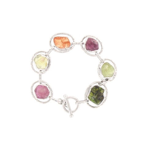 Ruby, Green Sapphire, Spessartite Garnet, and Green Tourmaline Bracelet