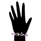 Pink Faceted Amethyst Bracelet with Heart Toggle
