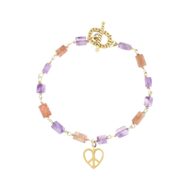 Amethyst and Sunstone Bracelet with Peace Heart Charm