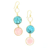 Rose Quartz, Natural Turquoise, and Pink Opal Earrings
