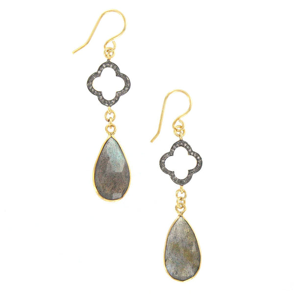 Diamond Clover and Labradorite Earrings