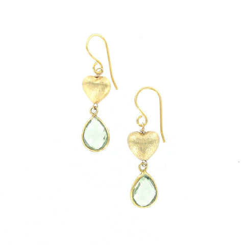 Green Amethyst and Gold Heart Earrings