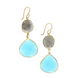 Labradorite and Chalcedony Earrings