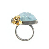 Aquamarine Flower Ring