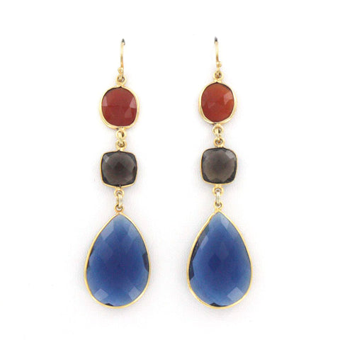 Blue, Orange, and Smokey Quartz Earrings