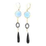 Diamond, Blue Quartz, and Black Onyz Earrings