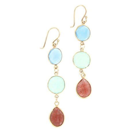 Blue/Green Quartz and Sunstone Earrings