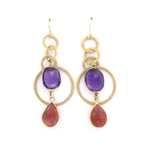 Contemporary Amethyst and Sunstone Earrings