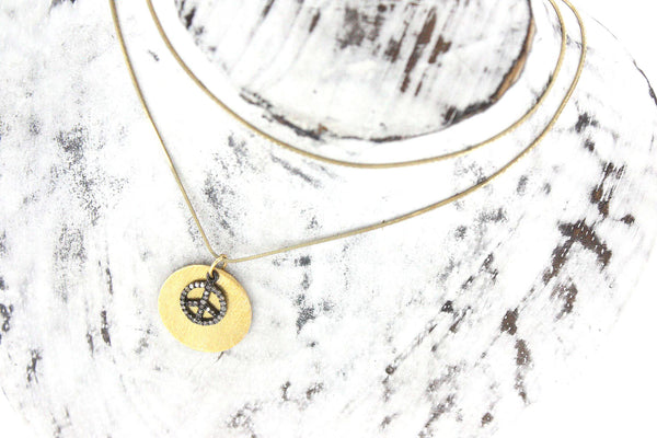 Diamond Peace Sign and Gold Necklace