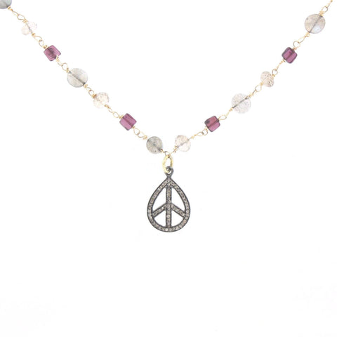 Diamond and Multi-Stone Peace Tear Drop Necklace