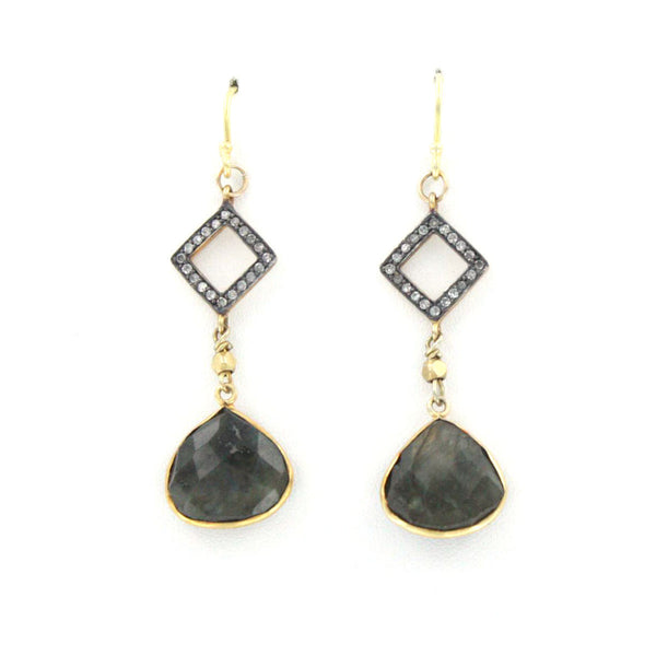 Diamond and Labradorite Earrings
