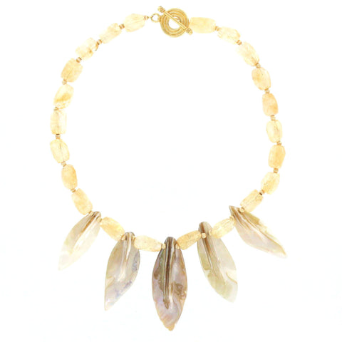 Faceted Citrine and Mother of Pearl Necklace