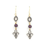 Diamond and Ruby Fleur de Lis Earrings
