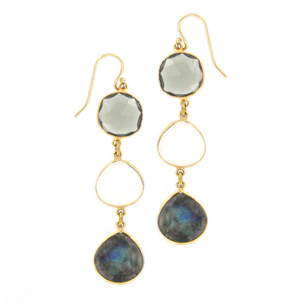 Tourmaline, Opalite, and Labradorite Earrings