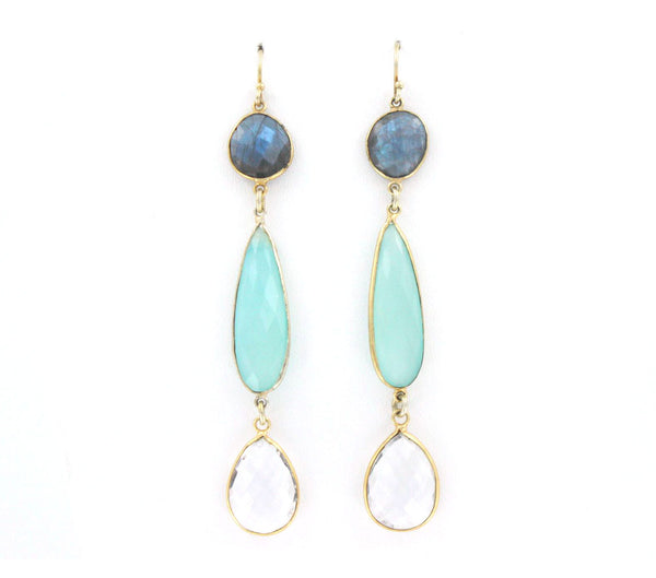 Labradorite and Blue/Clear Quartz Earrings