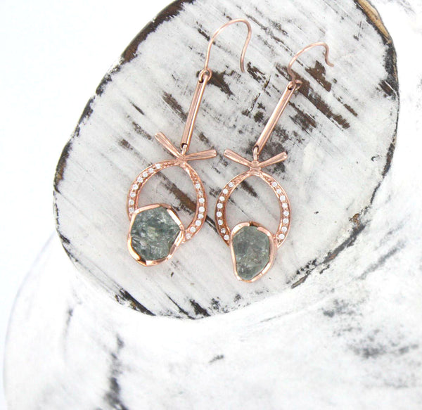 Rose Gold Plated Green Sapphire Earrings
