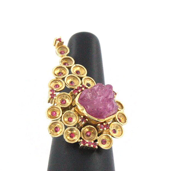 Rough Ruby and Red Spinel Ring