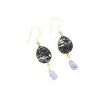 Rutilated Quartz and Amethyst Earrings