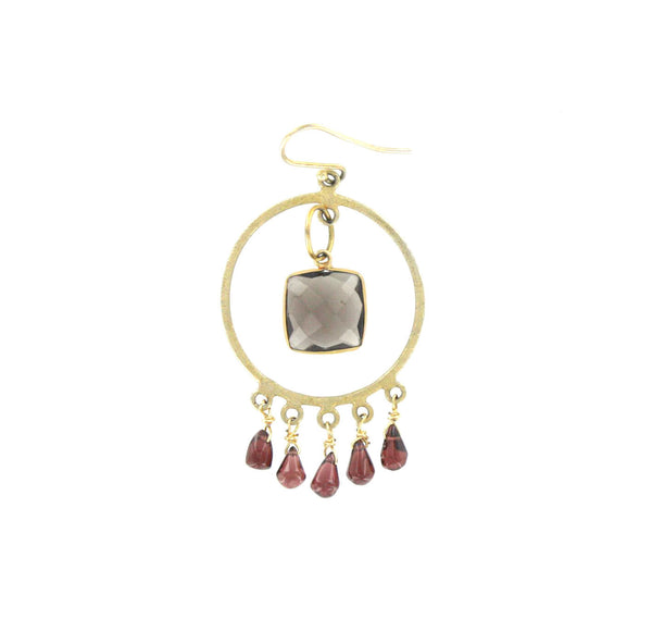 Smokey Quartz and Garnet Earrings