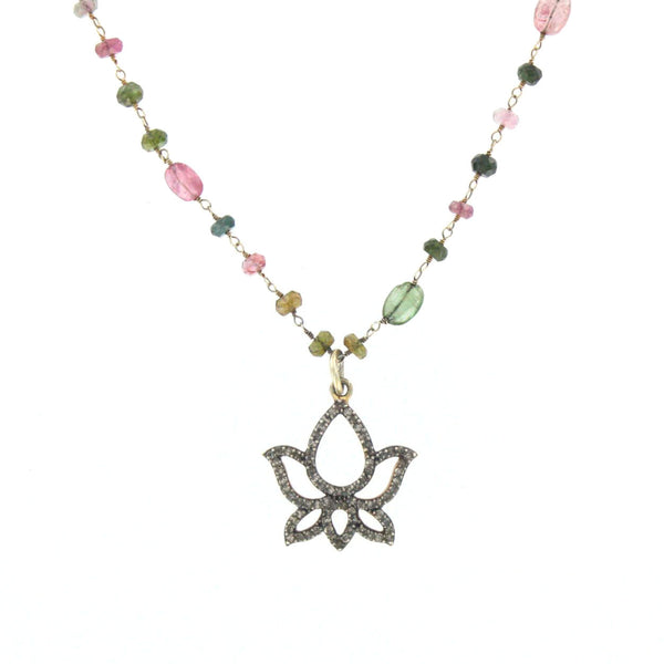 Diamond Lotus Pendant on Tourmaline Chain