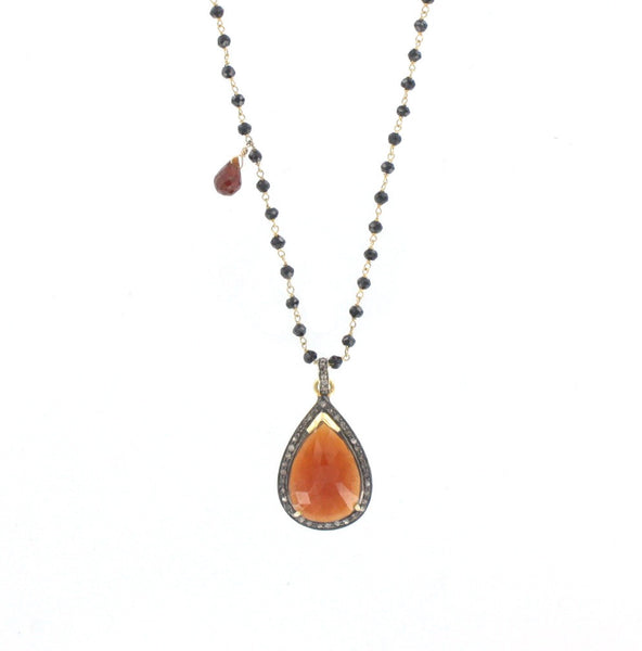 Diamond, Hessonite, and Black Spinel Necklace