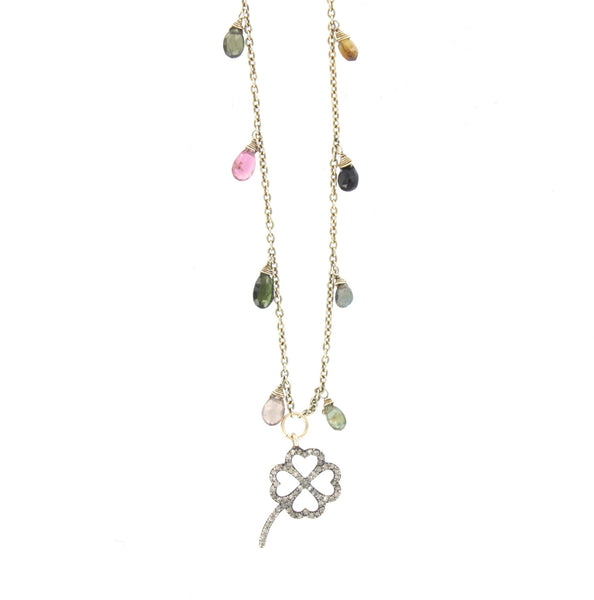 Tourmaline and Diamond Clover Necklace