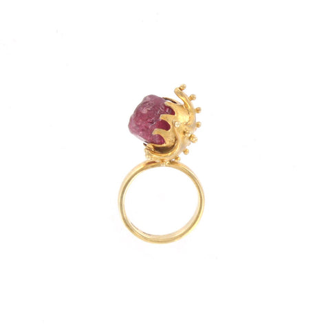 Rough Ruby Ring with Austrian Crystal