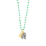 Diamond and Green Onyx Charm Necklace