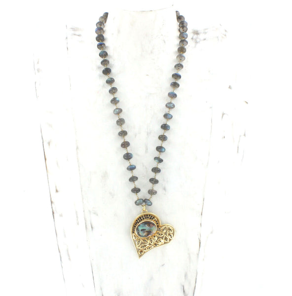 Twisted Heart with Bezel Set Black Spinel and Australian Boulder Opal on a Labradorite Vermeil Chain