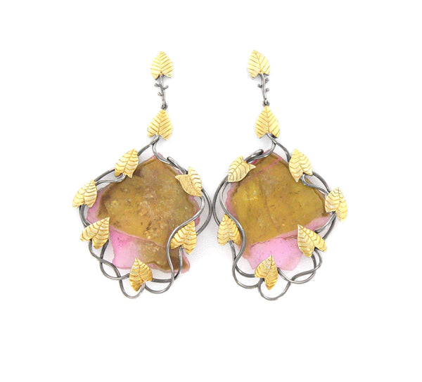 Watermelon Tourmaline Two-Toned Leaf Earrings