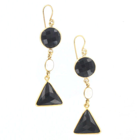 Black Onyx and Moonstone Earrings