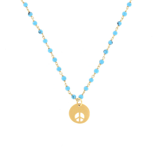 Turquoise and Peace Charm Necklace