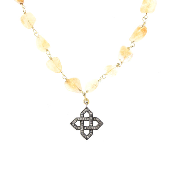 Diamond Pendant and Citrine Wire-Wrapped Necklace