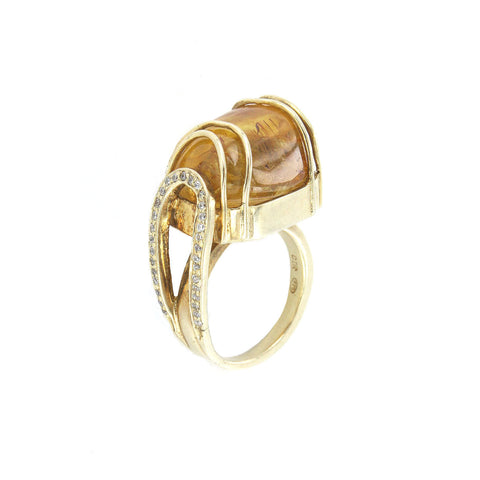 Yellow Tourmaline and Crystal Ring