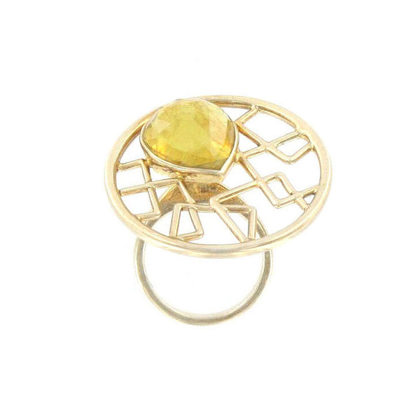 Faceted Yellow Tourmaline Ring