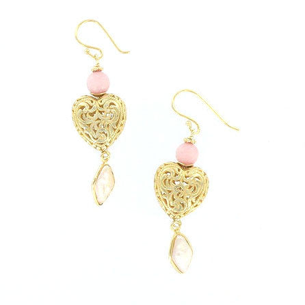 Morganite, Pearl, and Gold Heart Earrings