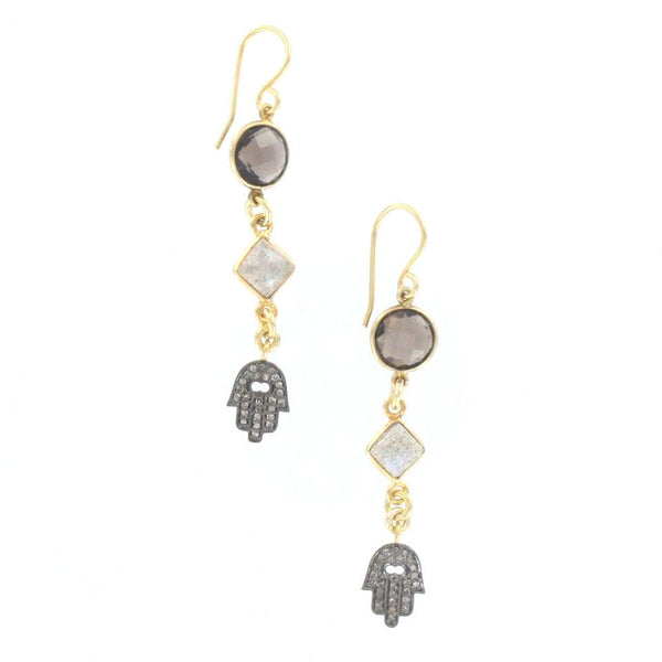 Diamond Hamsa, Labradorite, and Smokey Quartz Earrings