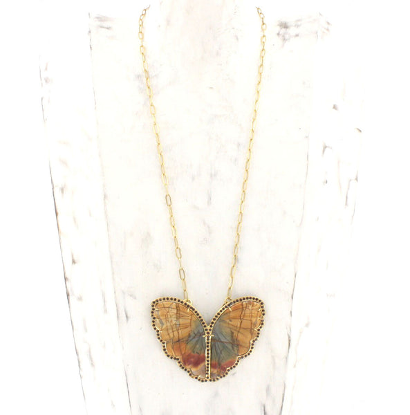 Hand Carved Jasper and Garnet Butterfly Necklace