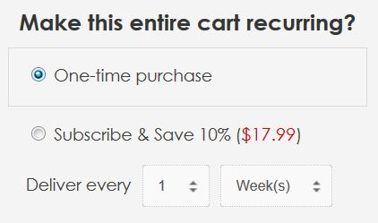 Subscription Purchase Shopping Cart