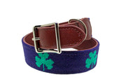 Shamrock needlepoint dog collar by Asher Riley