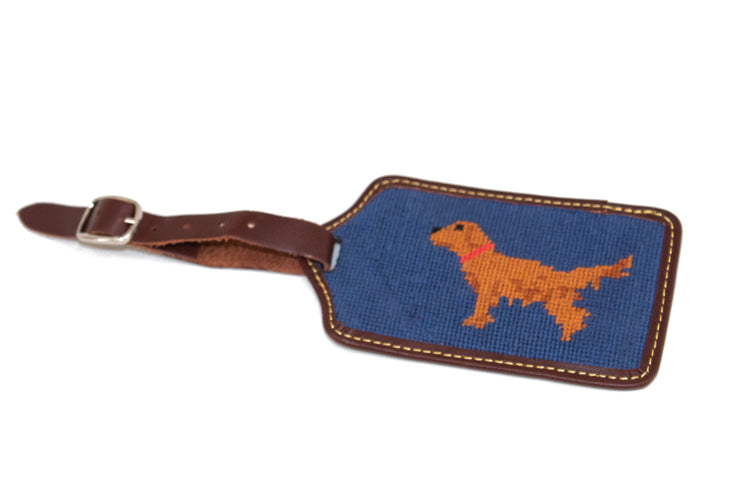 Golden Retriever Needlepoint Luggage Tag