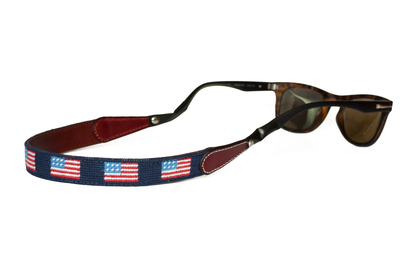 Asher Riley, needlepoint, american flag, sunglass straps