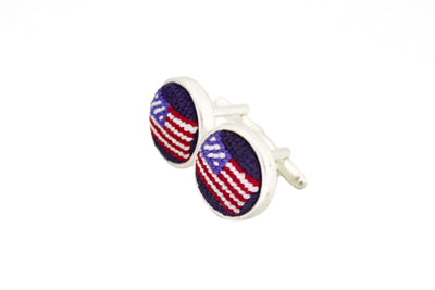 American Flag Needlepoint Cuff links by Asher Riley