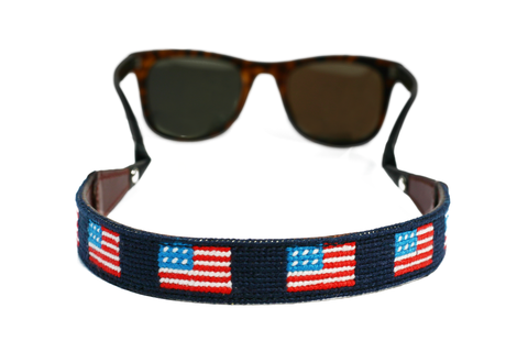 Asher Riley, american flag, needlepoint, sunglass straps