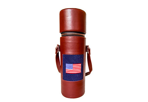 American Flag needlepoint wine holder by Asher Riley