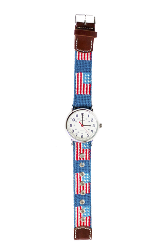 Asher Riley, american flag, needlepoint watch strap, Timex