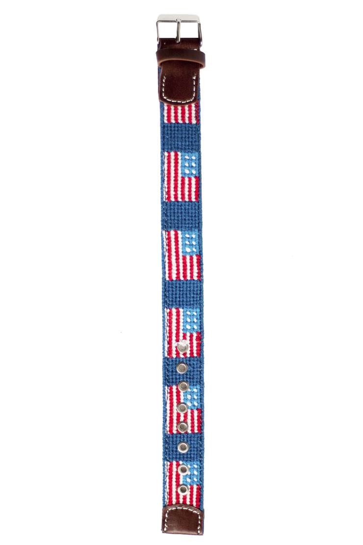 Asher Riley, american flag, needlepoint watch strap
