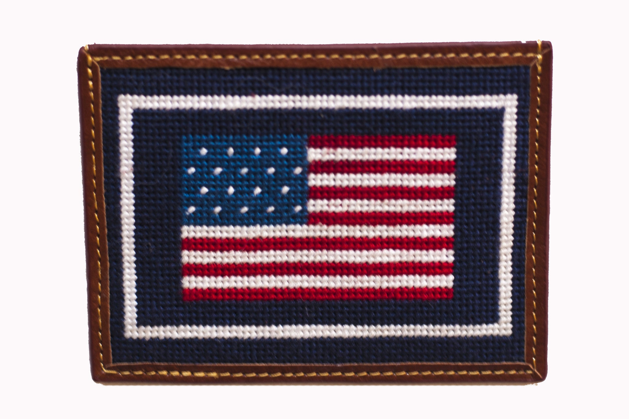 american flag needlepoint card wallet asher riley