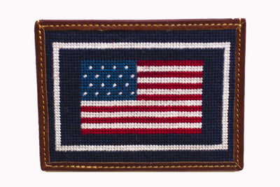American Flag Needlepoint Card Wallet by Asher Riley