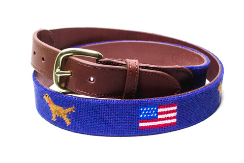 AMERICAN FLAG GOLDEN RETRIEVER NEEDLEPOINT BELT™